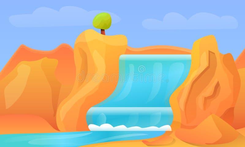 Waterfall concept banner, cartoon style stock illustration