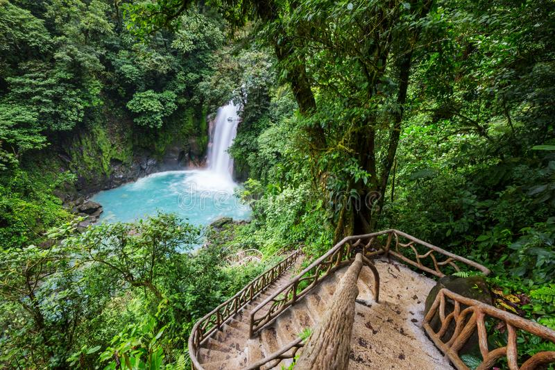 Waterfall in Costa Rica royalty free stock photography