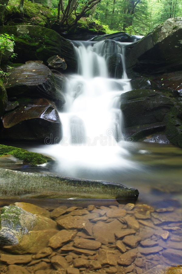 Download Waterfall Into Creek And Rocks Royalty Free Stock Images - Image: 5583369