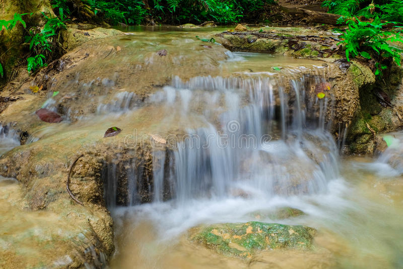 Waterfall. Creek or stream water flowing past rocks and stones royalty free stock photo