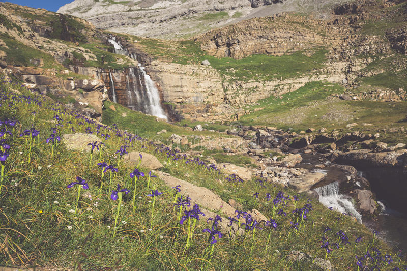Waterfall de cotatuero under Monte Perdido at Ordesa Valley Aragon Huesca Pyrenees of Spain royalty free stock photos