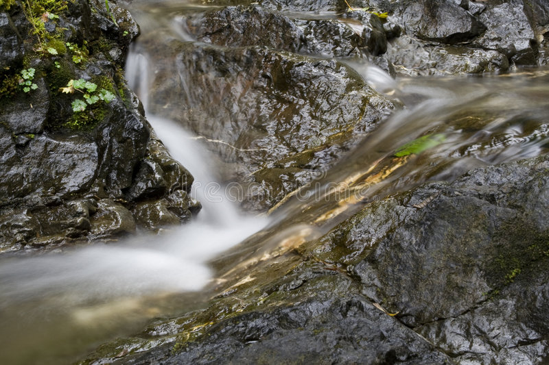 Waterfall detail. Beautiful waterfall in Olympic National Park royalty free stock photo