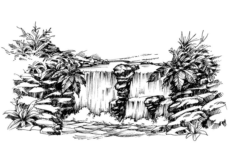 Waterfall drawing stock illustration