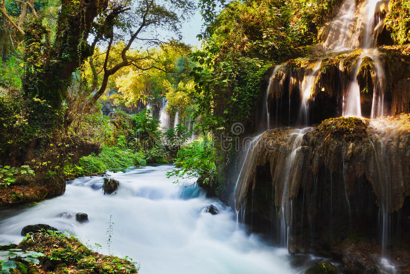 Waterfall Duden at Antalya Turkey stock photography
