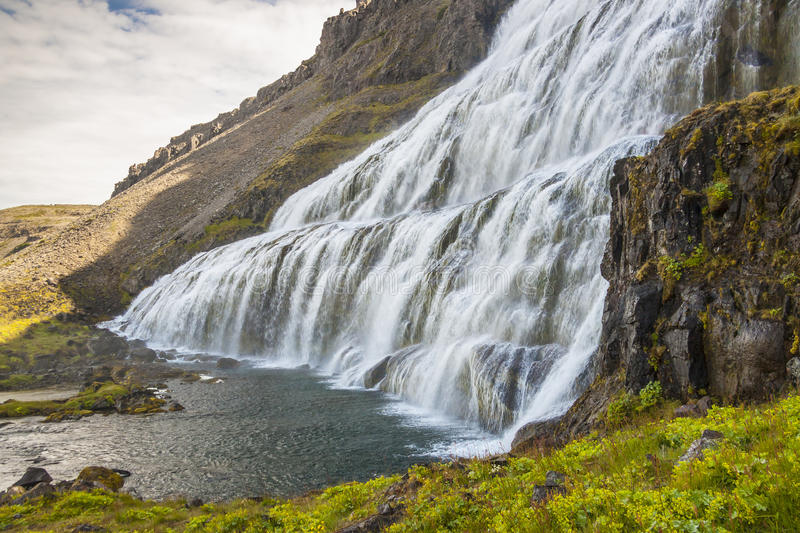Waterfall Dynjandi - Westfjords, Iceland. View on big beauty Dynjandi waterfall - Iceland, Westfjords stock image
