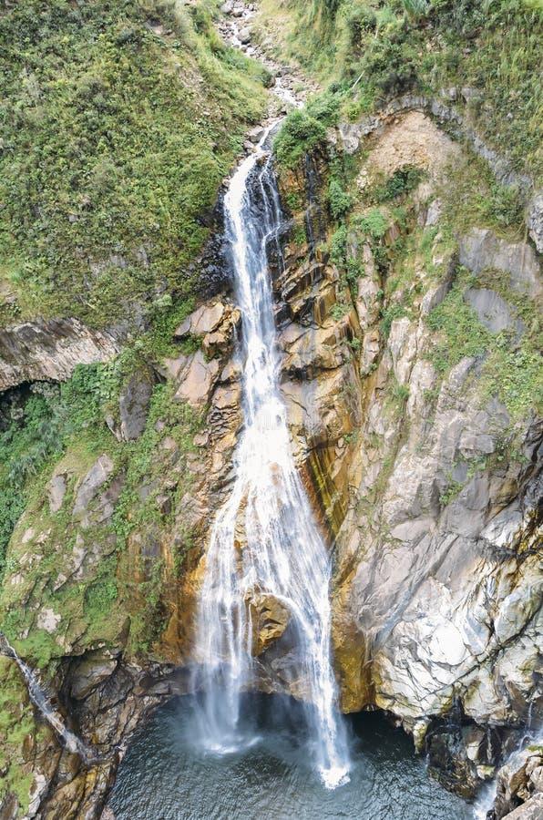 Waterfall in Ecuadorian Amazon region, South America royalty free stock images