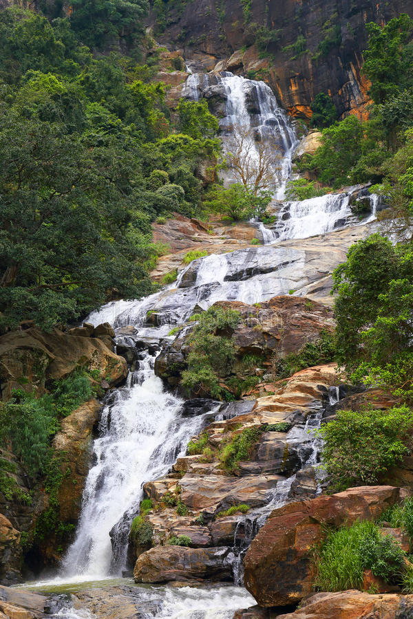 Waterfall Ella in Sri Lanka. One of the biggest waterfalls in country stock images