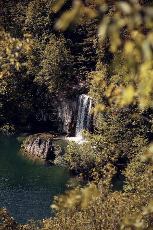Waterfall. In the european forest royalty free stock image