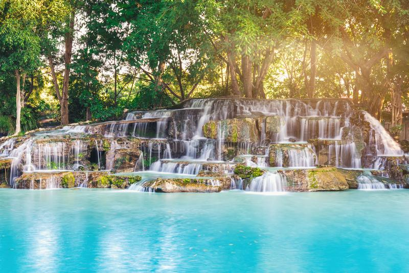 Waterfall with evening light with beautiful water. royalty free stock photography