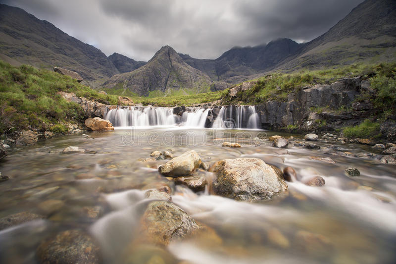Waterfall in Fairy Pools rocky stream on Isle of Skye. Waterfall in the Fairy Pools rocky stream on Isle of Skye stock image
