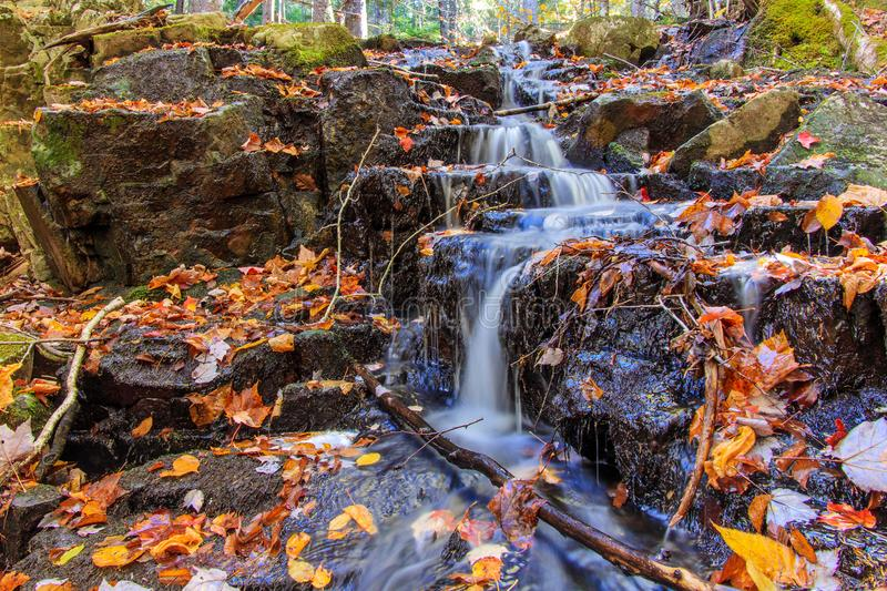 Waterfall at Hobson`s Lake, Blue Mountain, Nova Scotia, Canada stock images