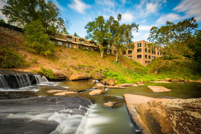 Waterfall at the Falls Park on the Reedy, in Greenville, South C stock images