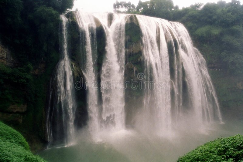 The Waterfall in fog royalty free stock photos