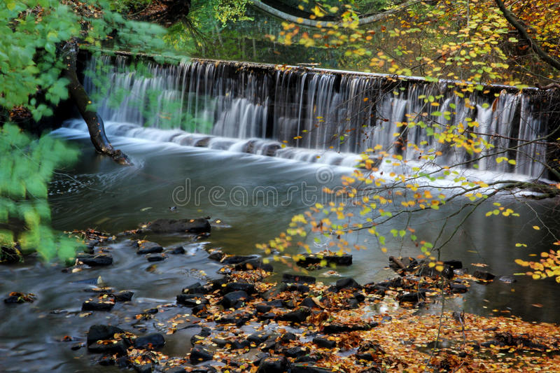 Waterfall in the forest. In Autumn stock images