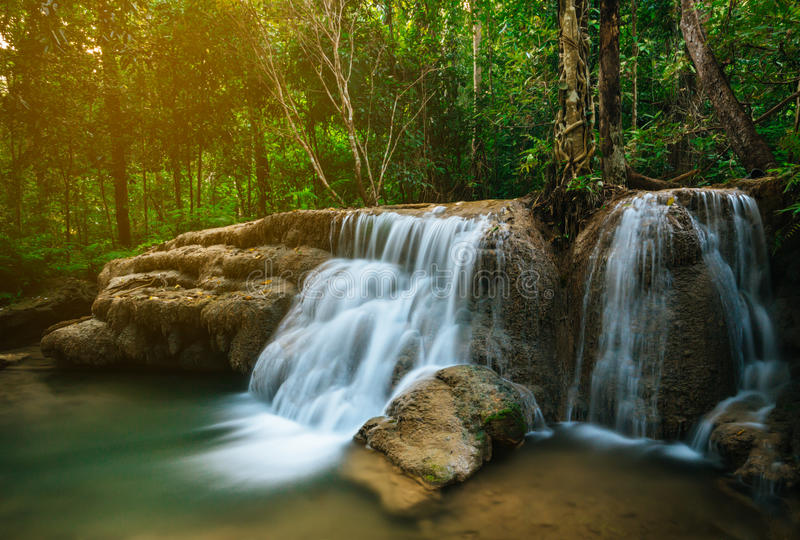 Waterfall in forest jungle. Hauy Rong Waterfall Phrae, Thailand.  royalty free stock photo