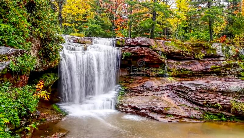 Waterfall in the forest stock image