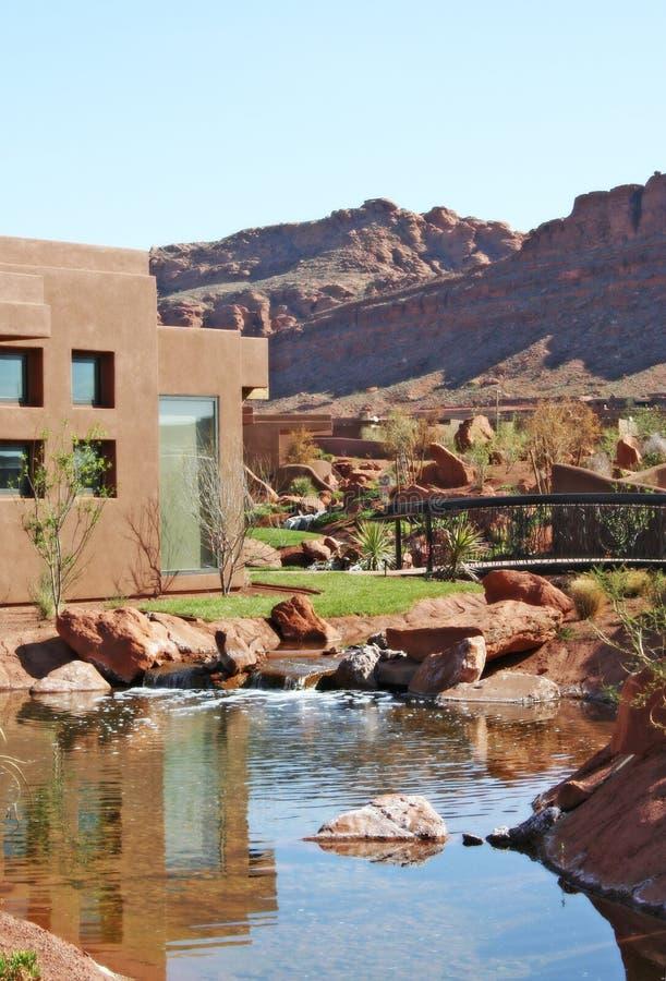 Waterfall gardens in desert royalty free stock photos