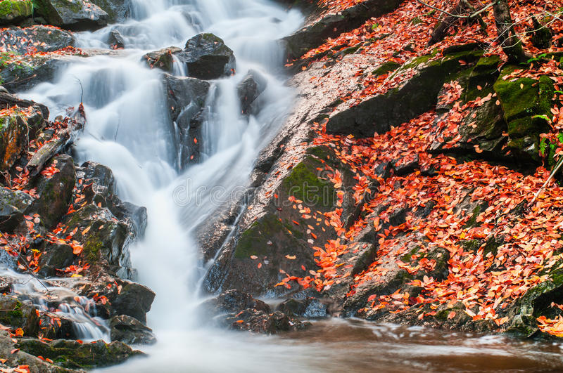 Waterfall in Gatineau Park. Quebec, Canada in fall stock photography