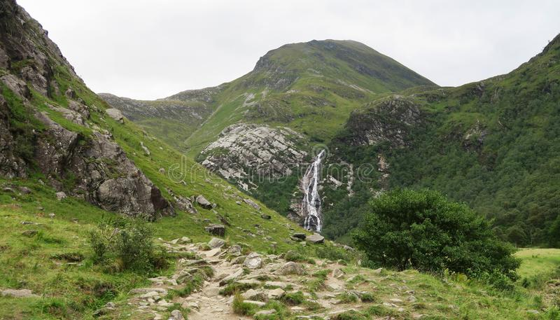 Waterfall in Glen Nevis near Fort William in Scotland. In United Kingdom royalty free stock photo