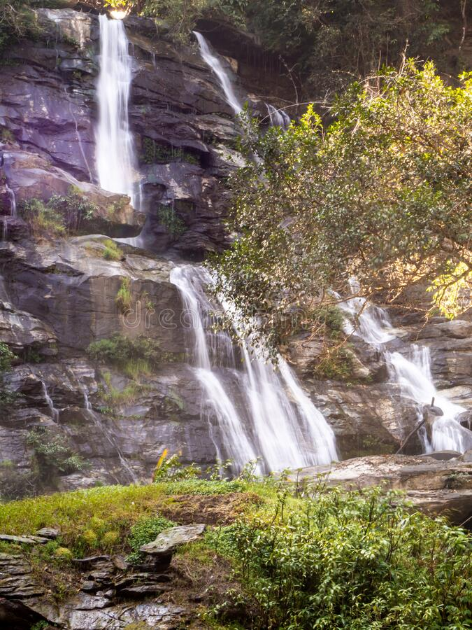 Waterfall green forest river stream landscape. The Waterfall green forest river stream landscape stock photos
