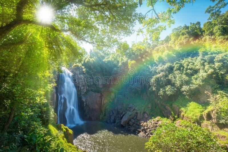 Waterfall. Hew narok, beautiful waterfall in Khao Yai national park of Thailand with sun ray and rainbow royalty free stock image