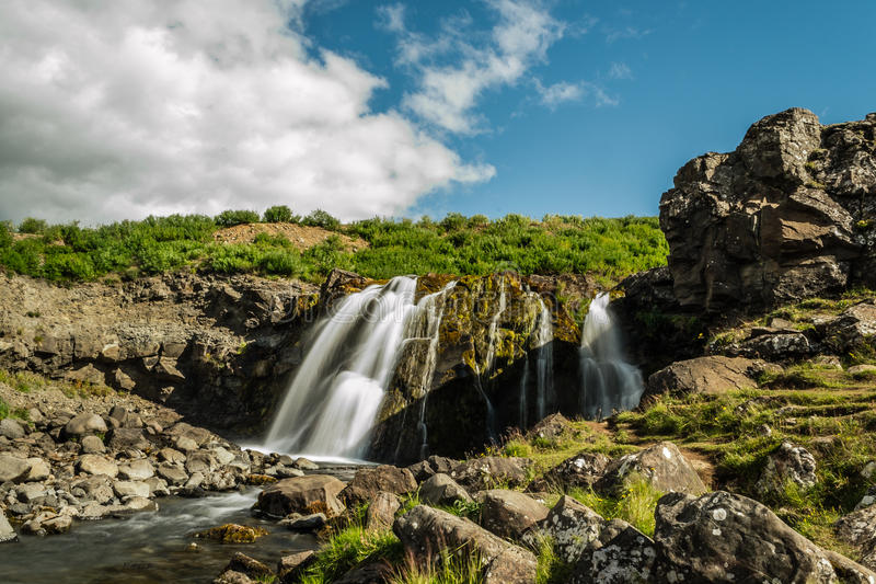 Waterfall in Hvalfjord Iceland stock photo