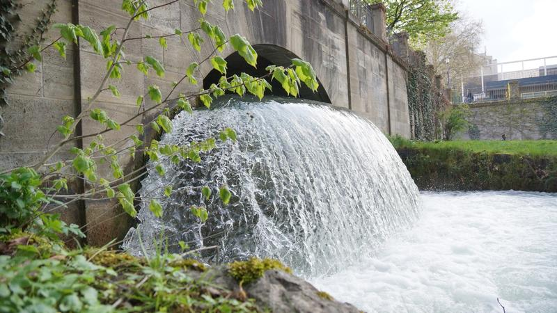 waterfall ice river munich english garden bridge isar river stock photo