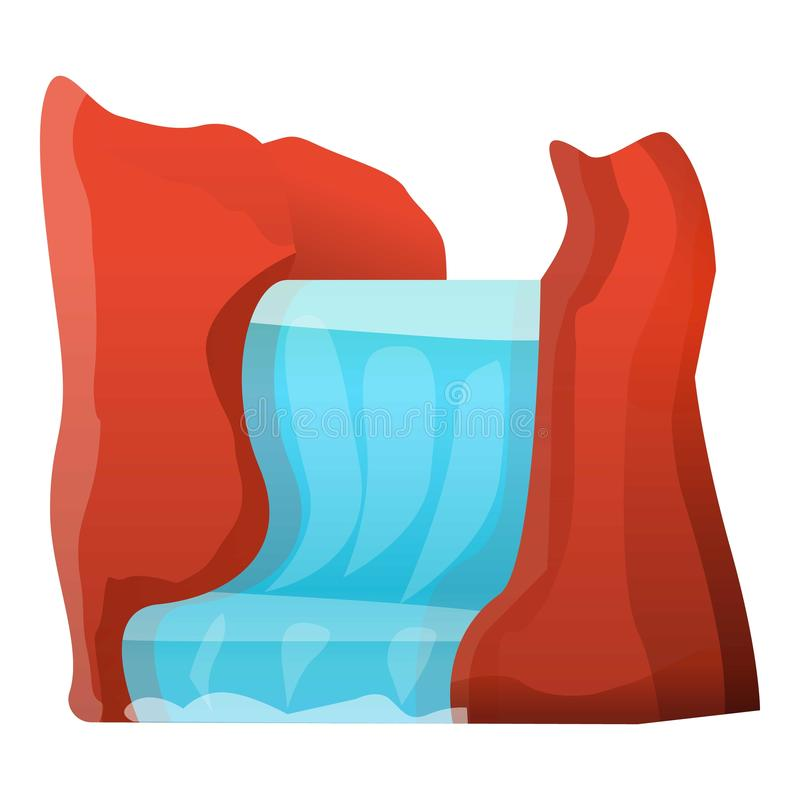 Waterfall icon, cartoon style. Waterfall icon. Cartoon of waterfall vector icon for web design isolated on white background royalty free illustration