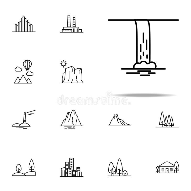 Waterfall icon. Landspace icons universal set for web and mobile. On white background vector illustration