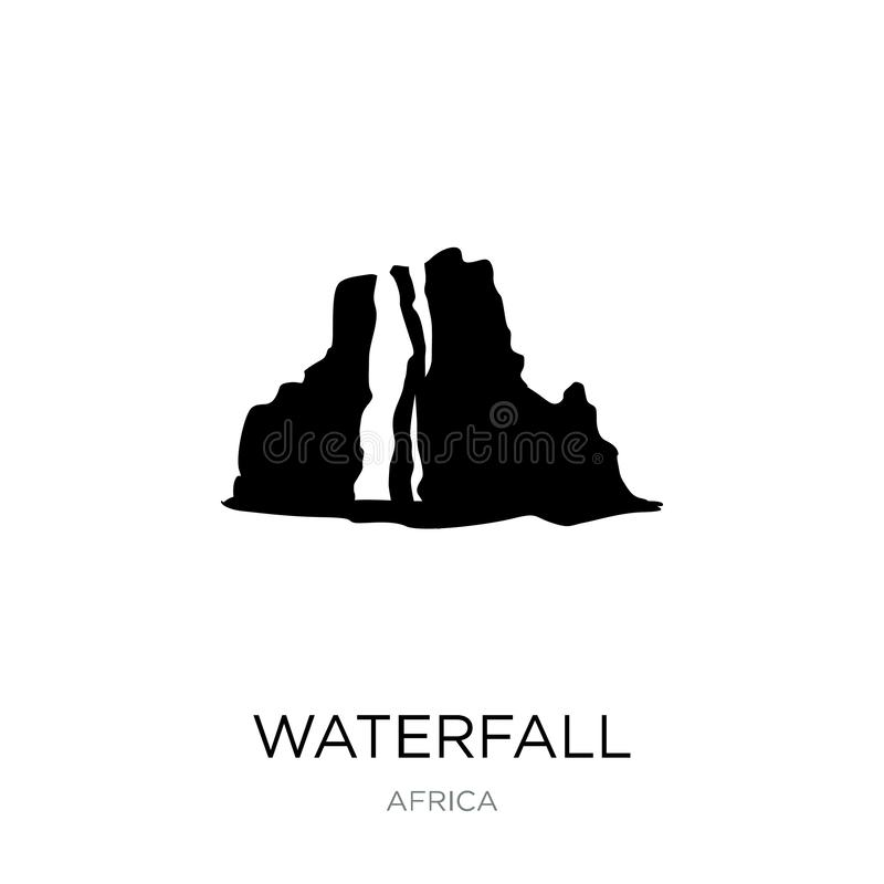 Waterfall icon in trendy design style. waterfall icon isolated on white background. waterfall vector icon simple and modern flat. Symbol for web site, mobile royalty free illustration