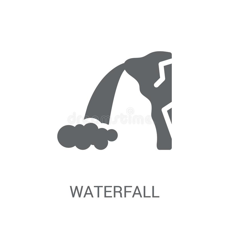 Waterfall icon. Trendy Waterfall logo concept on white background from Nature collection. Suitable for use on web apps, mobile apps and print media stock illustration