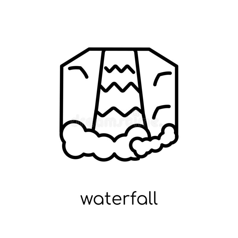 Waterfall icon. Trendy modern flat linear vector Waterfall icon vector illustration