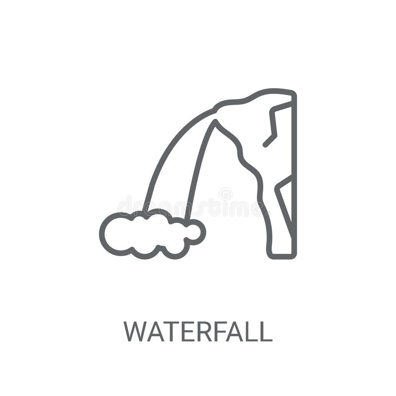 Waterfall icon. Trendy Waterfall logo concept on white backgroun. D from Nature collection. Suitable for use on web apps, mobile apps and print media royalty free illustration