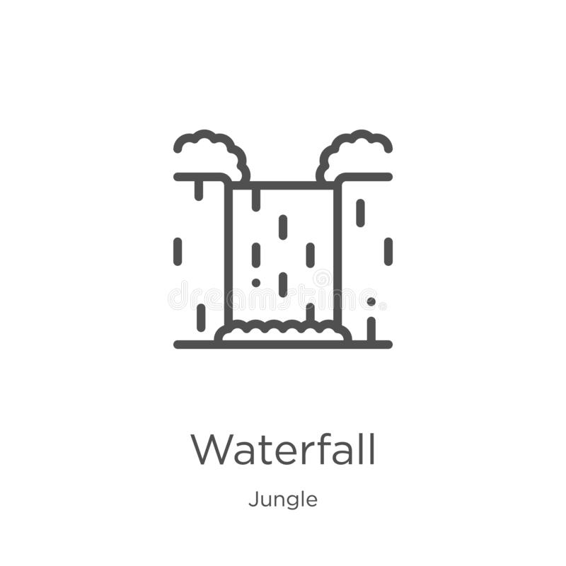 waterfall icon vector from jungle collection. Thin line waterfall outline icon vector illustration. Outline, thin line waterfall royalty free illustration
