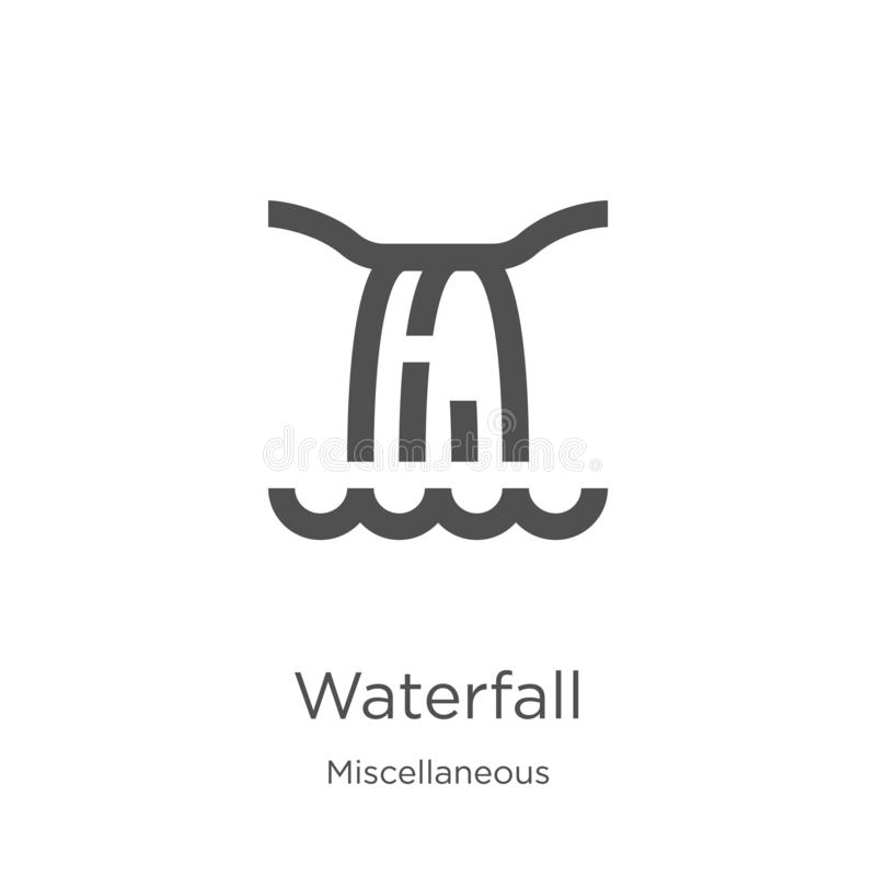 waterfall icon vector from miscellaneous collection. Thin line waterfall outline icon vector illustration. Outline, thin line stock illustration