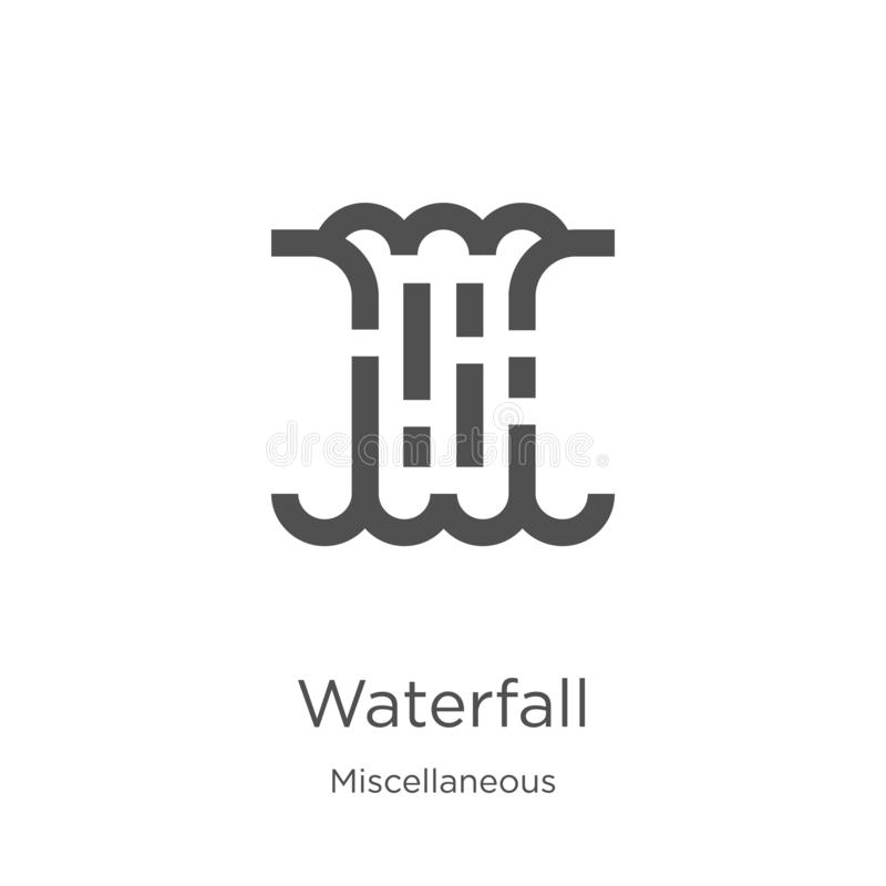 waterfall icon vector from miscellaneous collection. Thin line waterfall outline icon vector illustration. Outline, thin line royalty free illustration
