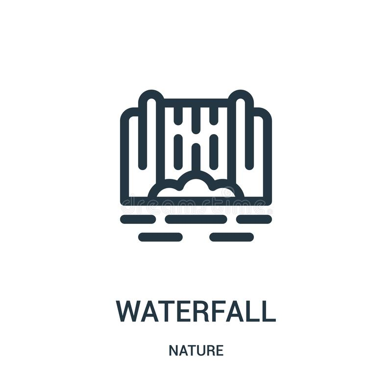 waterfall icon vector from nature collection. Thin line waterfall outline icon vector illustration. Linear symbol for use on web stock illustration
