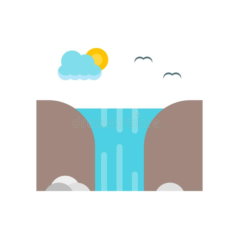 Waterfall icon vector sign and symbol isolated on white background. Waterfall icon vector isolated on white background for your web and mobile app design stock illustration