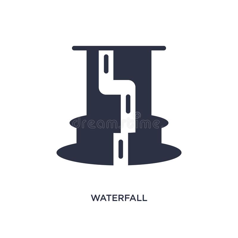 Waterfall icon on white background. Simple element illustration from africa concept. Waterfall icon. Simple element illustration from africa concept. waterfall stock illustration