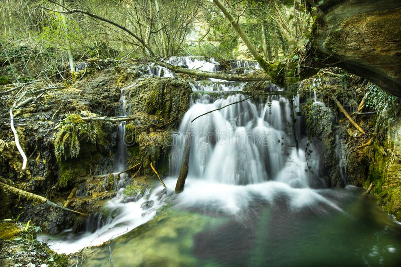 The waterfall of the ravines in the mystic mountain Rhodope royalty free stock images