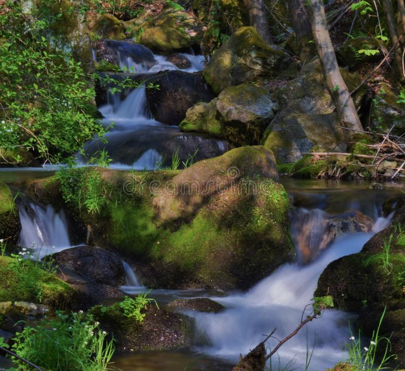 Waterfall in the Italian forest stock photos