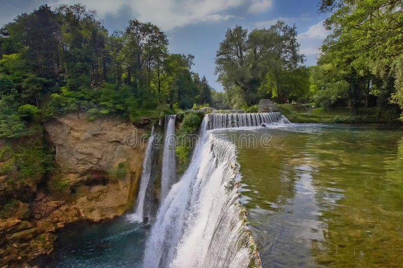 Waterfall of Jajce. Old town of Jajce, Waterfall on river Pliva stock image