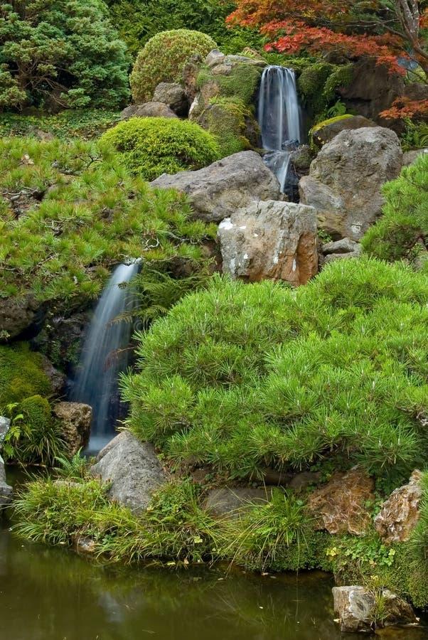 Waterfall in Japanese Tea Garden royalty free stock photo