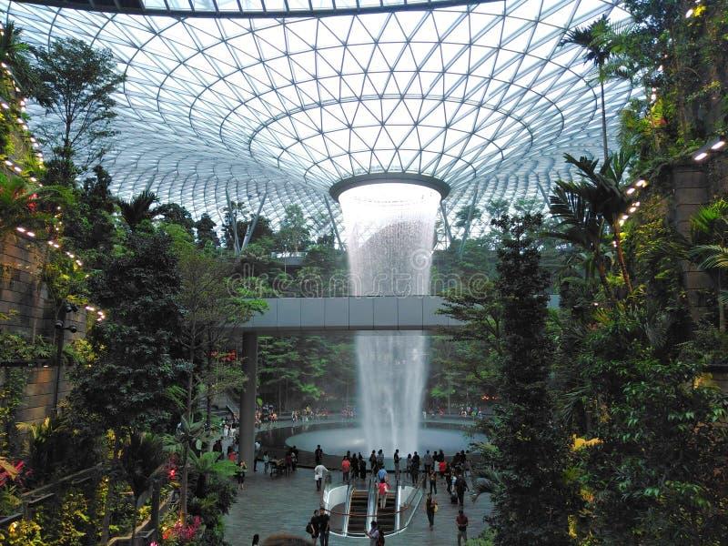 Waterfall in the Jewel Changi Airport stock photo