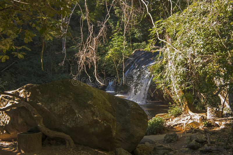 Waterfall in the Jungle, Chiang Mai. One of the falls in a larger complex of waterfalls in Chiang Mai, Thailand stock image
