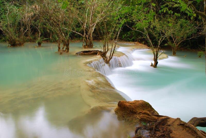 Waterfall in the jungle, kuangsi stock photo