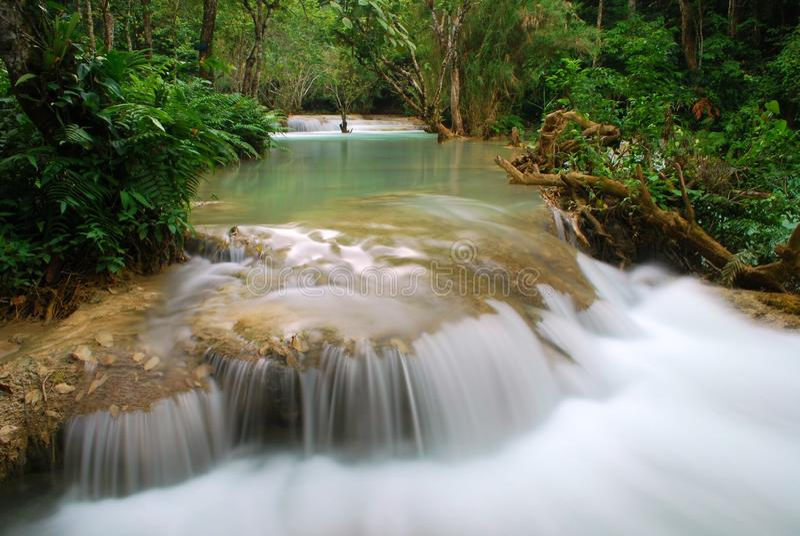 Waterfall in the jungle, kuangsi royalty free stock image