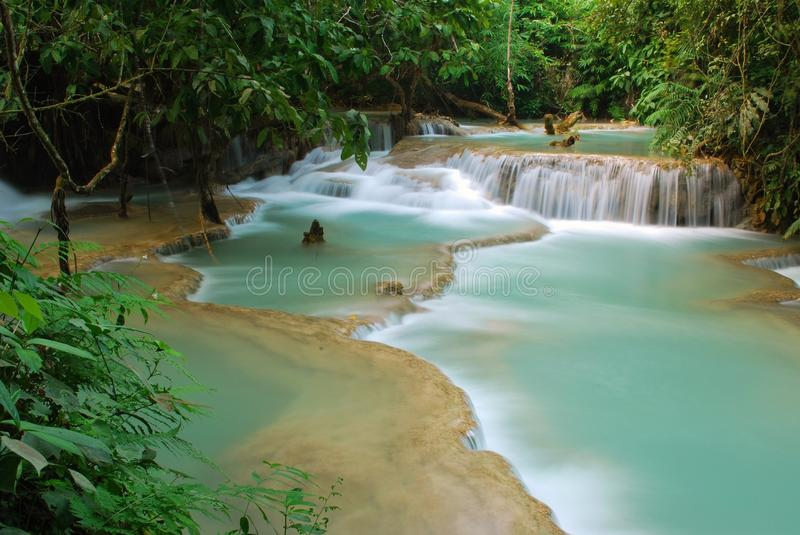 Waterfall in the jungle, kuangsi stock images