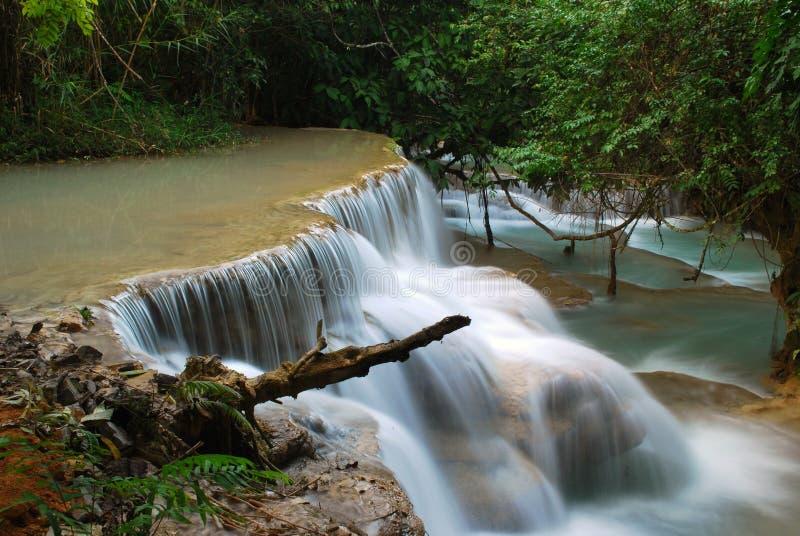 Waterfall in the jungle, kuangsi royalty free stock photo