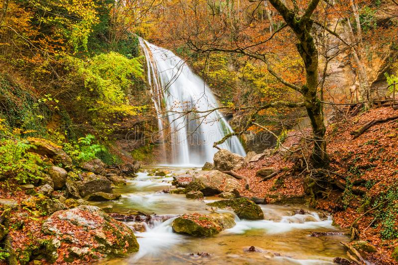 Waterfall Jur-Jur in the mountains in autumn, natural sights of the Crimea peninsula stock photo